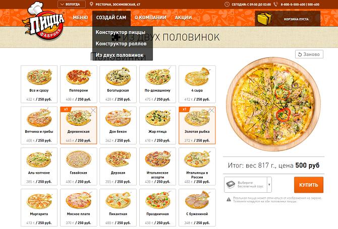 Конструктор пиццы и роллов как часть системы автоматизации и способ удовлетворить клиента